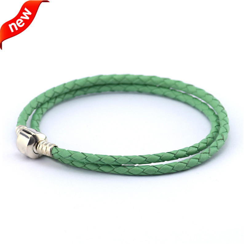 Green Double Brand Leather Bracelets with Barrel Clasp 925 Sterling Silver Jewelry Bracelets for Women DIY Charms Beads JewelryGreen Double Brand Leather Bracelets with Barrel Clasp 925 Sterling Silver Jewelry Bracelets for Women DIY Charms Beads Jewelry