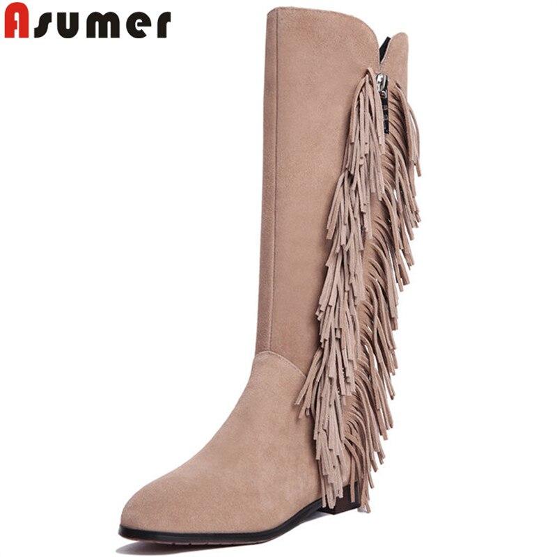 Asumer 2020 패션 가을 겨울 부츠 라운드 발가락 낮은 발 뒤꿈치 무릎 높은 부츠 지퍼 프린지 스웨이드 가죽 부츠 여성 큰 크기 34 43-에서무릎 - 하이 부츠부터 신발 의  그룹 1