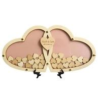 Personnalisé Multi Couleurs Rustique Drop Top Coeur De Mariage Livre d'or En Bois Cadre 45*23 cm 100 Pcs 2.5 cm main-Écriture Bois coeur