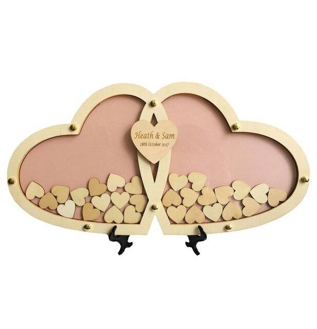 personnalis multi couleurs rustique drop top coeur de mariage livre d 39 or en bois cadre 45 23 cm. Black Bedroom Furniture Sets. Home Design Ideas