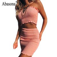 Abasona Women Summer Dresses Sexy Off Shoulder Ruffles Dress Women Two Piece Set Casual Beach Wear