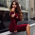 M.H.Artemis Red slash neck casual bodycon winter sweater Dress Knitted lapel pullover off shoulder Bodycon Sexy Women knitwear