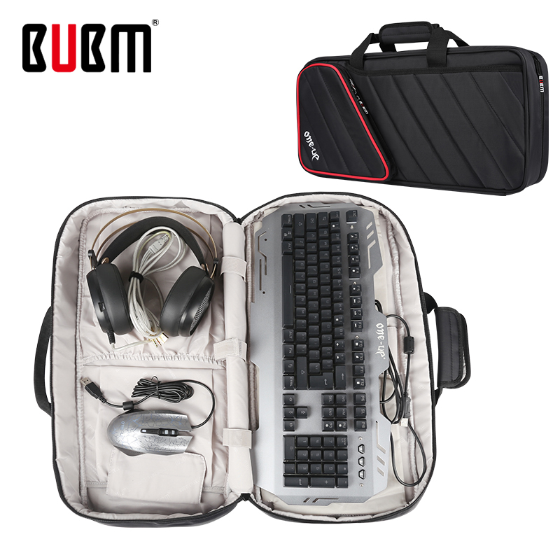 BUBM game keyboard bag case for gaming keyboard gamerfor PC shoulder bag handbag game gamepad bag black earphone mouse bag bubm game bag for sony vr ps4 video game player game cases waterproof digital protect storage bag travel carry shoulder bag