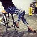 New Fashion Elastic Stretch Leggings Women's Grid Color Elephant Graffiti Personalized Fitness Leisure Ankle Length Leggings