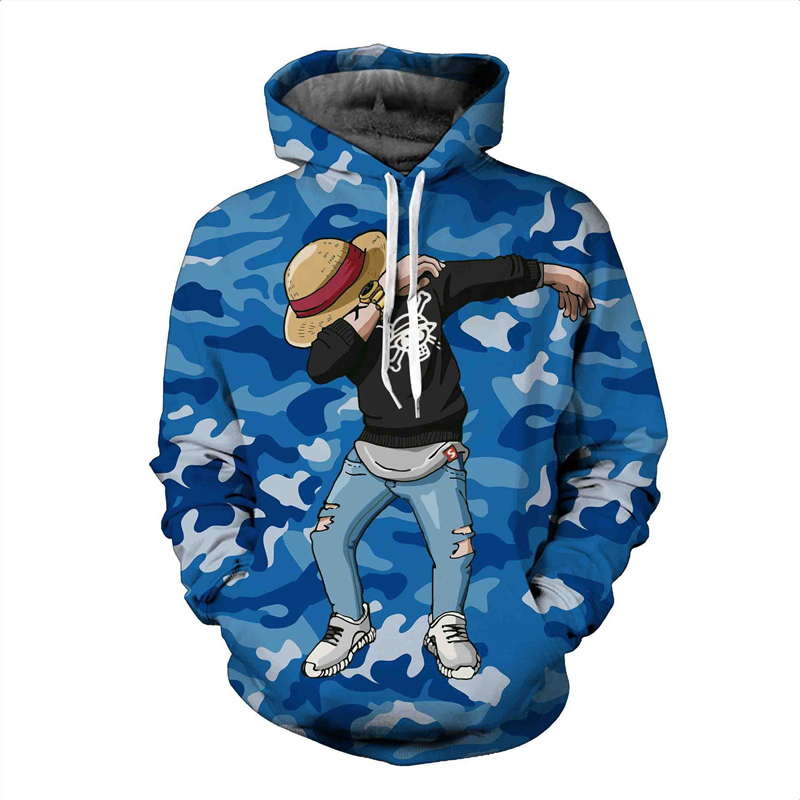 Season Explosion One Piece Luffy Cartoon Cartoon 3D Print Hat Costume Hoodie Hoodie Suitable for Men and Women