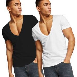 Мужская сексуальная модная футболка с очень глубоким v-образным вырезом, облегающий топик