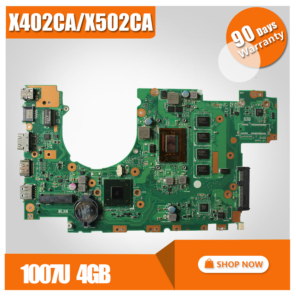 for ASUS X502CA X402CA Motherboard X402CA REV2.1 Mainboard 1007u 4G Memory on board 100% test laptop motherboard for asus x502ca x402ca rev2 1 with 1007 cpu fully teated mainboard 60nb00i0 mb5080 mb 8 memory