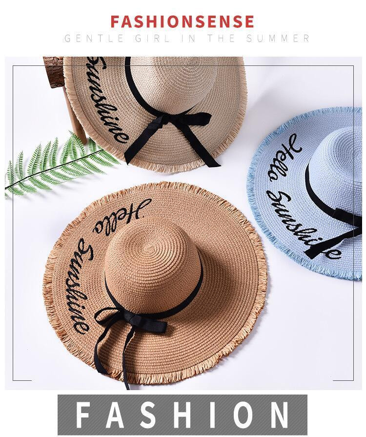 HTB1Hjg8mrorBKNjSZFjq6A SpXag - Handmade Weave letter Sun Hats For Women Black Ribbon Lace Up Large Brim Straw Hat Outdoor Beach hat Summer Caps Chapeu Feminino
