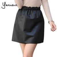 Yanueun Korean Fashion 2017 Women Womens Faux Leather A Line Mini Skirts Elastic Waist Pleated Casual