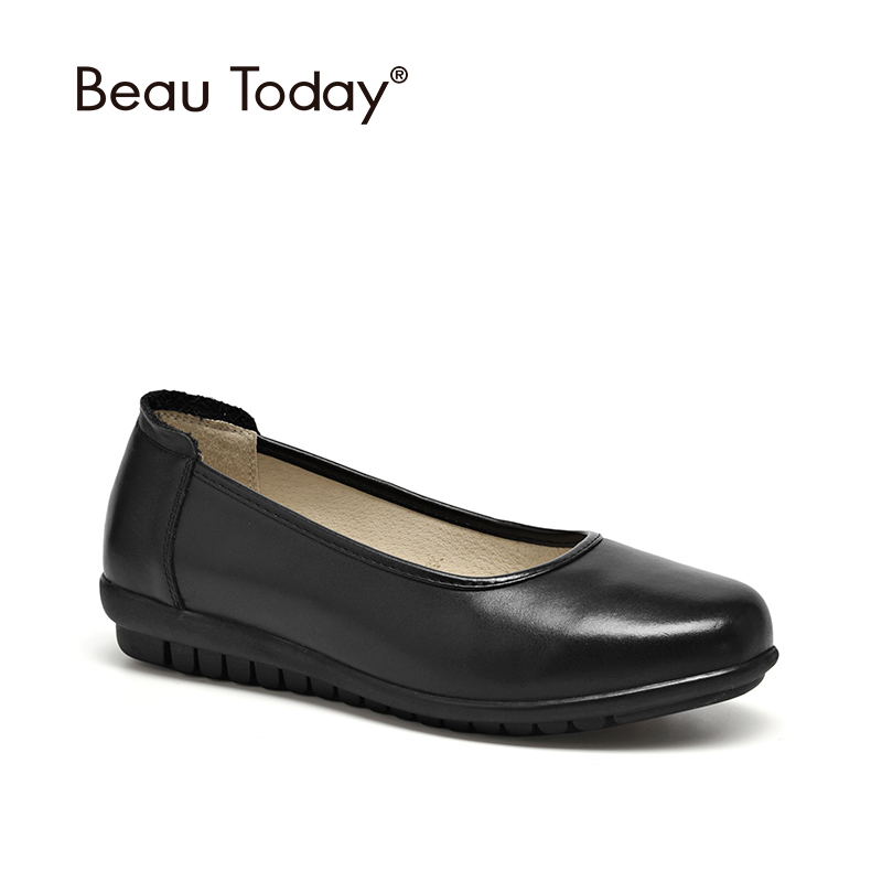BeauToday Office Lady Shoes Genuine Cow Leather Round Toe Shallow Slip On Women Flat Work Shoes