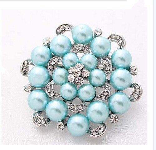 Серебряный тон искусственный жемчуг и горный хрусталь с бриллиантами, кристалами для свадьбы брошь с букетом - Окраска металла: Blue