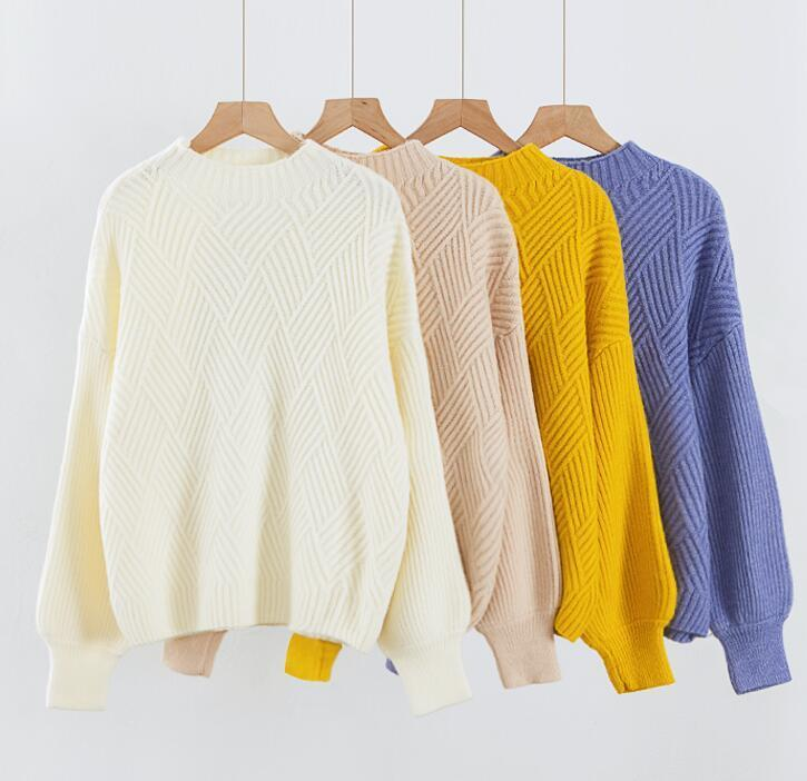 2019 Women Cute Lantern Sleeves Knit Sweaters Winter Warm Comfy Oversize  Knitted Jumper for Women Beige Yellow-in Pullovers from Women s Clothing on  ... d4d8563aa
