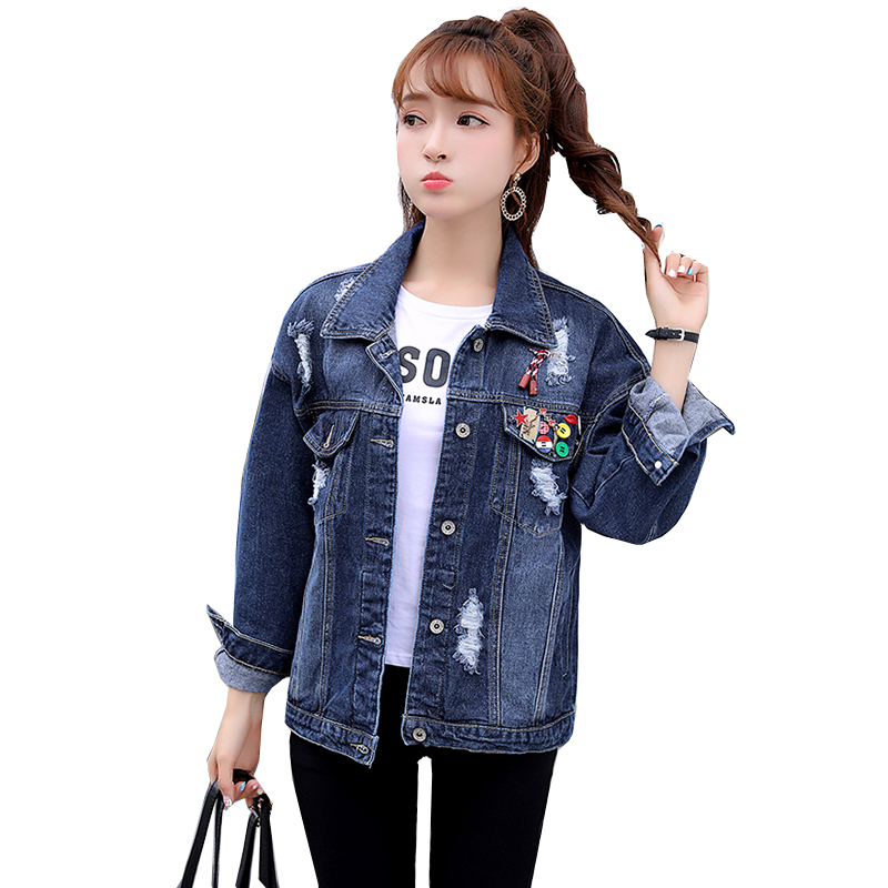 short Denim   Jacket   Women Coat 2018 New Autumn   Basic     Jackets   Hole Flower Jean   Jacket   Tops Vintage Outerwear Plus Size YM924