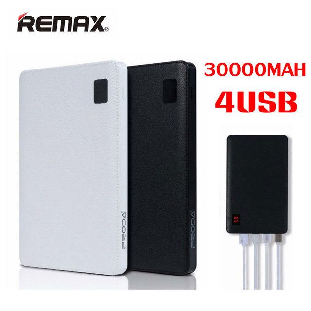 Original remax móvel power bank 30000 mah 4 usb carregador de bateria externa universal 2 banco de potência usb 10000 mah portátil carregador