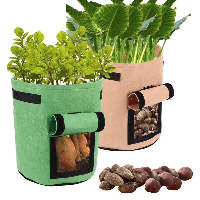 5 галлонов помидоры выращивание картофеля сумки с ручками цветы горшок для выращивания овощей сумки Нетканый материал домашние садовые горшки 5 шт