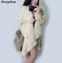 2017 New Brand Women's Winter rabbit fur coat Hot Sale 4 colors knitting real fur jacket