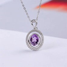 wholesale new-designed trendy 925 sterling silver natural amethyst purple crystal pendant necklace for women wedding engagement