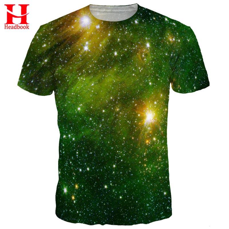 2017 Headbook Green Space Galaxy T-shirt Men/women 3d T shirt Print Nebula Brand Tops Tees Summer Tshirts
