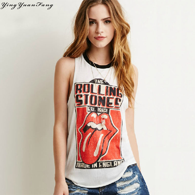 YingYuanFang Rock the word bottoming vest printed sleeveless outer wear loose wild sexy little vest