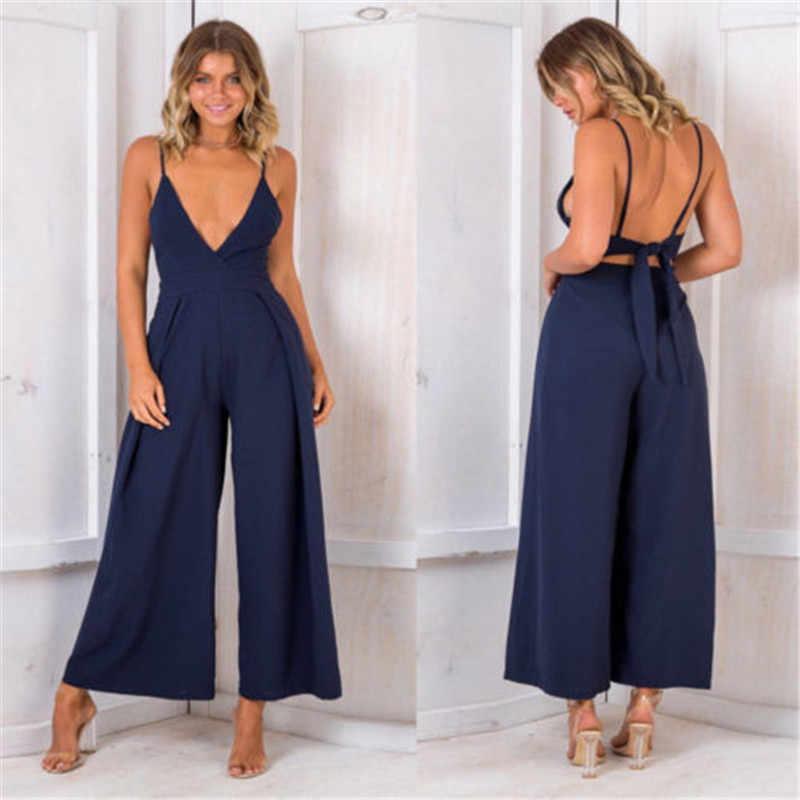 Женская Клубная одежда, Летний комбинезон, длинные штаны, Вечерние брюки, модные летние комбинезоны