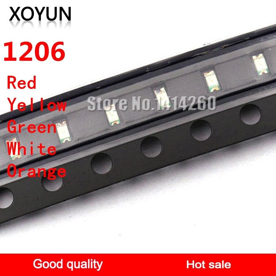 100pcs/lot 1206 SMD Luminous Tube SMD LED Red Yellow Green White Orange