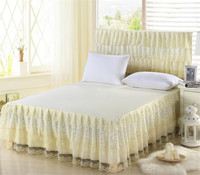 Girl's lace decoration polyester bed skirt lace bedspread many colors twin full queen size can chooce