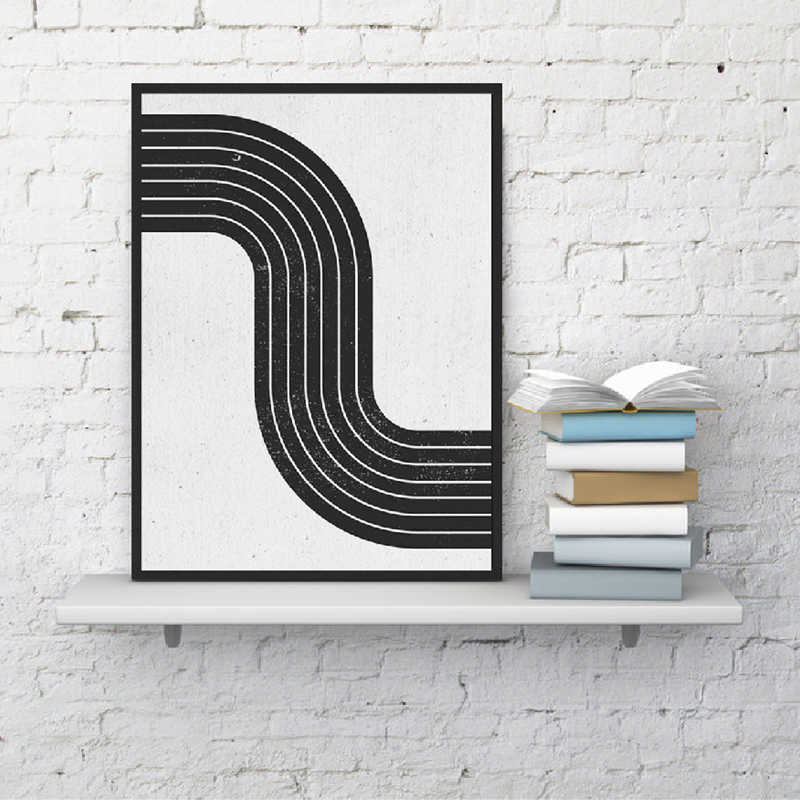 Mid Century Modern Abstract Wall Art Canvas Poster Print Vintage Geometric Simple Painting Black White Block Picture Home Decor
