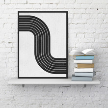 Mid Century Modern Abstract Wall Art Canvas Poster Print Vintage Geometric Simple Painting Black White Block Picture Home Decor(China)