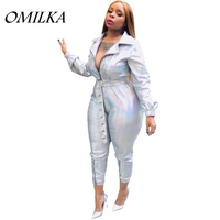 OMILKA 2019 Autumn Women Long Sleeve Turn Down Collar Zipper Laser Rompers and Jumpsuits Sexy Silver Club Party Bodycon Overalls