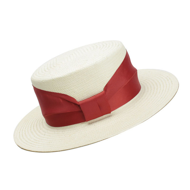 e41da335495dc9 Women White Summer Hat With Red Ribbon Bow-Knot 2018 New Fashion Flat Top  Boater
