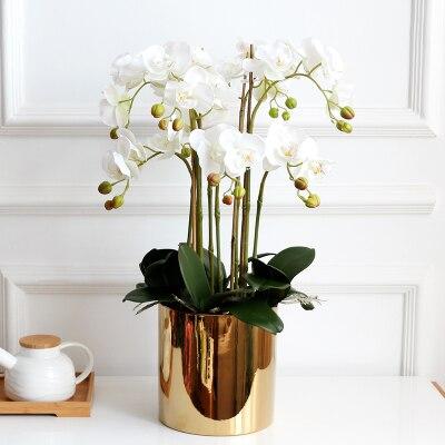 1 Juego de flores + jarrón de alto grado bien diseñado Mesa artificial de látex orquídea arreglo de flores toque real ins populares-in Flores artificiales y secas from Hogar y Mascotas    1