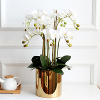 1 set flower + vase high grade well designed table artificial Latex orchid flower arrangement real touch ins popular