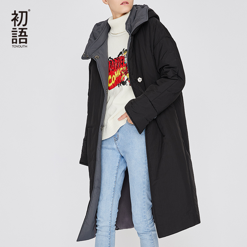 Toyouth Для женщин зимние длинные парки теплая верхняя одежда утепленное пальто с капюшоном повседневная женская обувь дамы пальто мягкий сне...
