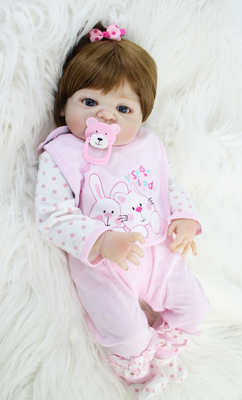 цена Full Silicone Baby-Reborn Doll Toy 55cm Newborn Princess Babies Bebe Doll Girl Bonecas Brinquedos Kid Bathe Toy Birthday Gift