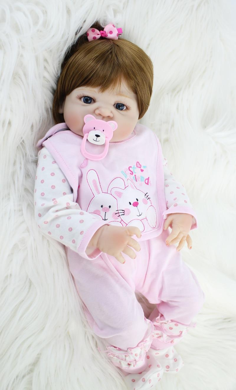 Plein Silicone Bébé-Reborn Poupée Jouet 55 cm Nouveau-Né Princesse Bébés Bebe Poupée Fille Bonecas Brinquedos Kid Baignade Jouet cadeau d'anniversaire