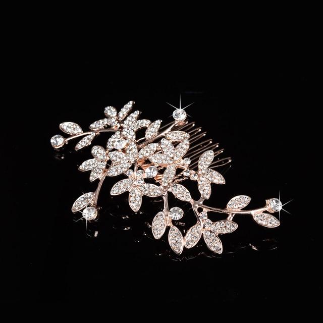 Купить свадебная расческа для волос slbridal розовое золото стразы