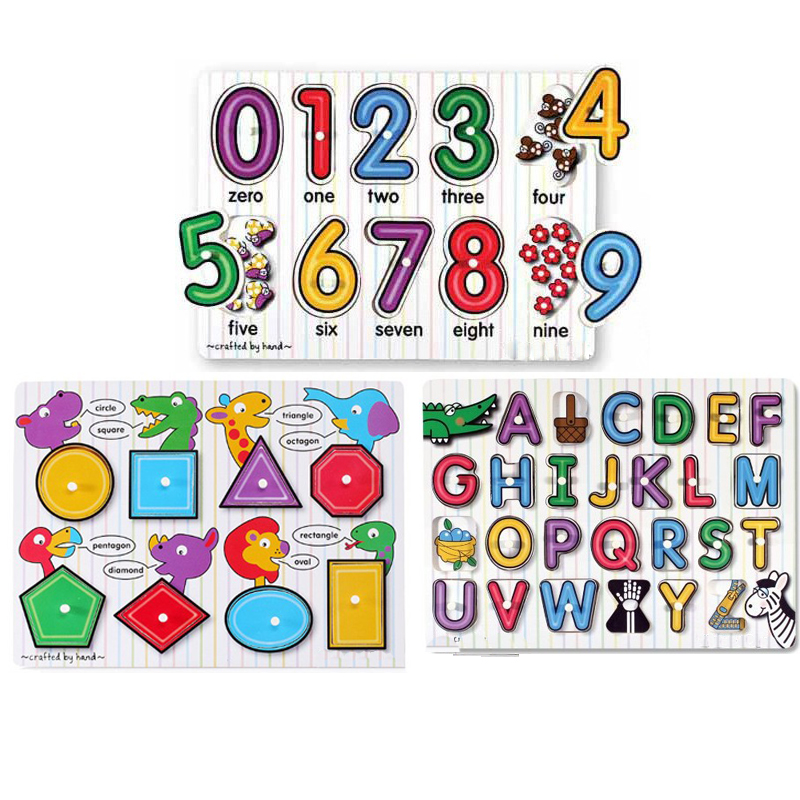 1LOT=3pcs, BOHS Educational Wooden Alphabet Number Geometry
