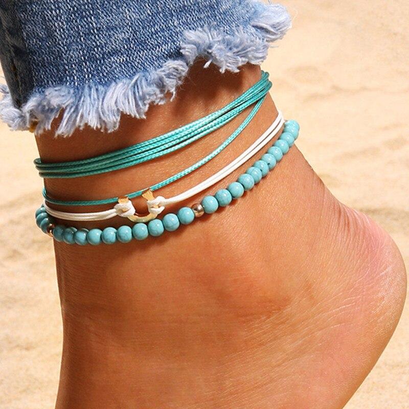 DIEZI Bohemian One Sets U Shape Beads Anklets for Women Vintage Leg Ankle Anklet Charms Bracelet Beach Jewelry