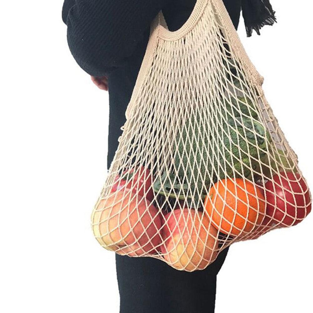 New Mesh Shopping Bag Reusable String Fruit Storage Handbag Totes Women Shopping Mesh Net Woven Bag Shop Grocery Tote Bag
