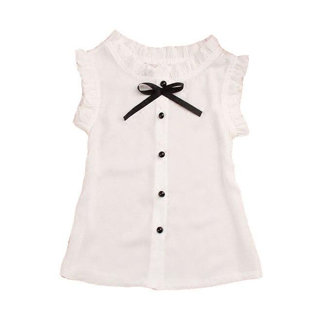 c1693c0303c40 Niños blanco Blusas para Uniformes para el colegio gasa sin mangas Camisas  para Niñas estudiantes Tops