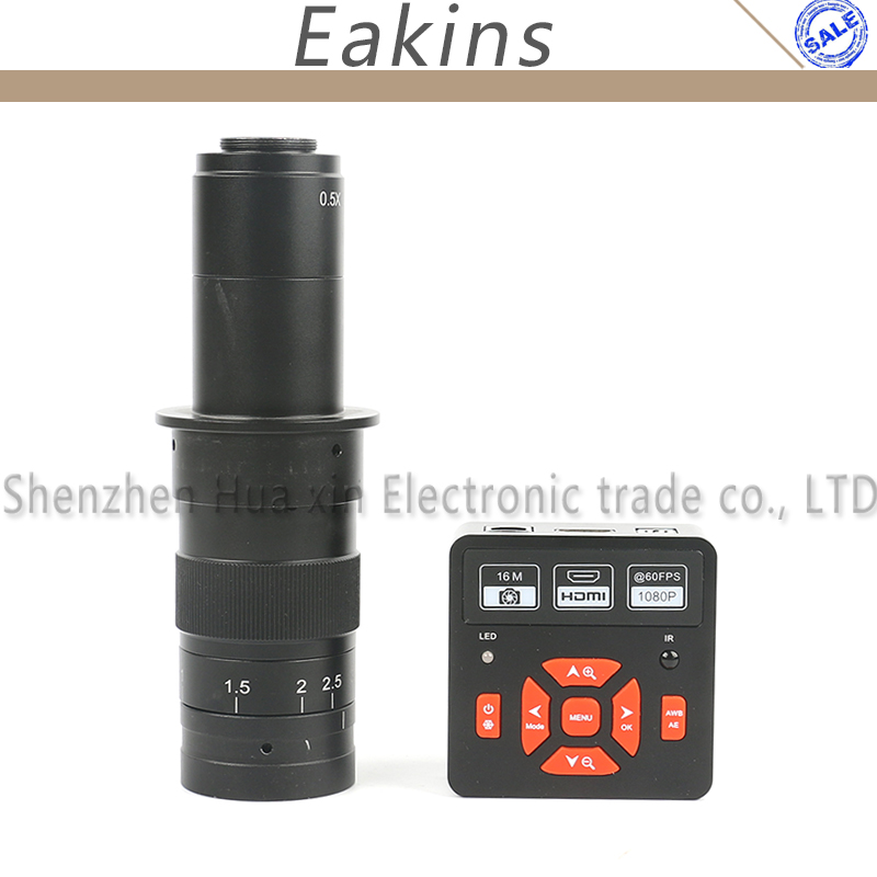 60FPS 16MP 1080P HDMI USB HD Digital Video Industrial Microscope Camera Set + Adjustable 300X 180X Zoom C-mount Lens hd 1080p vga digital industrial video microscope camera infrared remote control 130x 180x 300x c mount camera lens