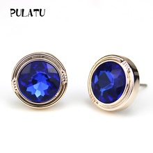 PULATU 7 Color 11mm Round Crystal Stud Earrings for Women Trendy Rose Gold Color Earring Fashion Jewelry XK1155