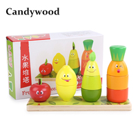 Candywood Wooden Fruit Piles tower block toys Cartoon Stacking Blocks Baby Educational Montessori math Toys for kids gifts