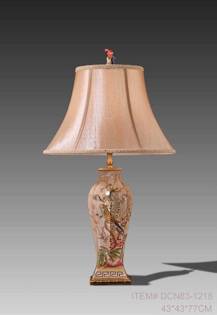 European Style Antique Porcelain Table Lamp Brass Base Luxury Ceramic Art  Decoration