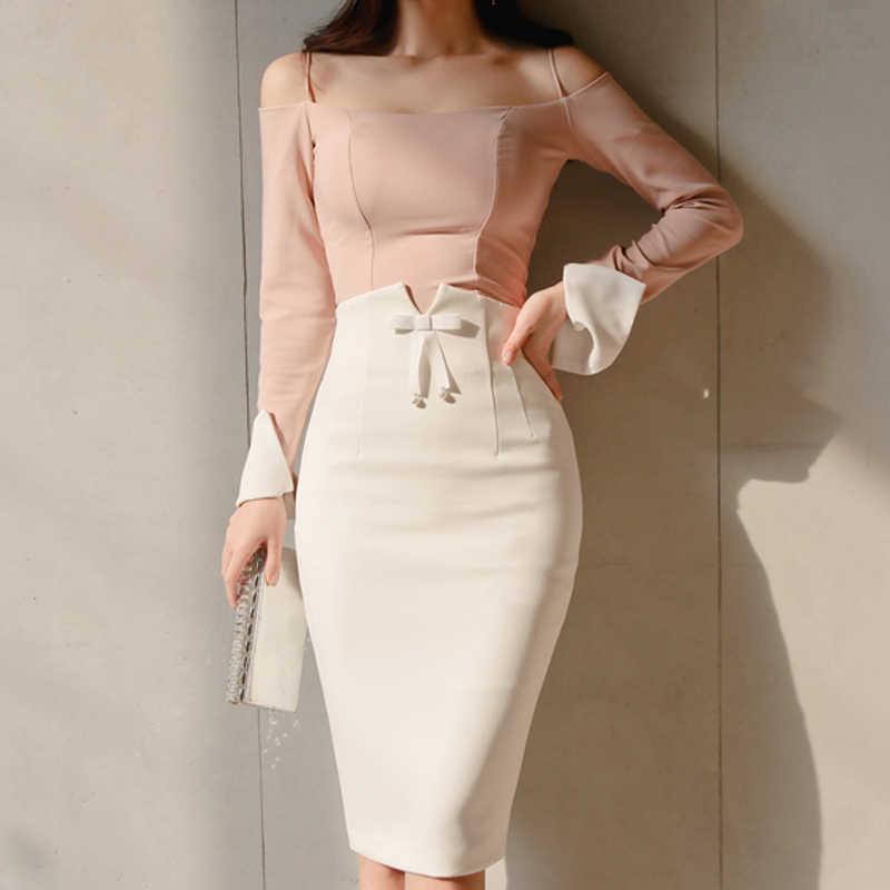 Falda Ajustada A La Moda Para Mujer Falda De Oficina De Corte Imperio De Color Blanco De Talla Grande 2019 Faldas Aliexpress