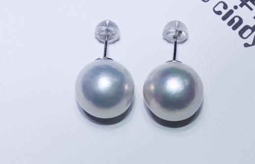 Splendida 11-12mm mare a sud bianco rotondo orecchino di perla 18 kSplendida 11-12mm mare a sud bianco rotondo orecchino di perla 18 k