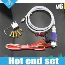 3D Impresora j-head Hotend con Ventilador de Refrigeración para 1.75/3.0 MM v6 Wade Extrusora Enfundado 0.2-1.0mm Boquilla + kit Volcán