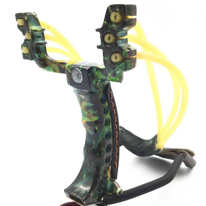 CS32-072 fronde de chasse en plein air 2 bandes de caoutchouc en alliage d'aluminium attelle de poignet puissante fronde catapulte avec Clip de lampe de poche