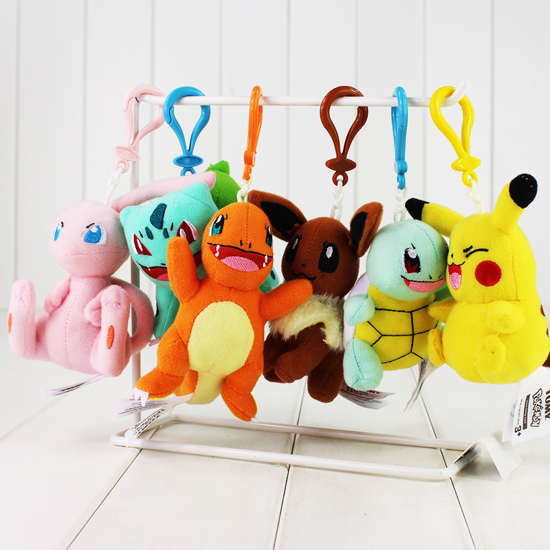 9~11cm Kawaii Anime Mew Piplup Squirtle Bulbasaur Eevee Plush Toy Stuffed Soft Doll Pendant keychain With Hook