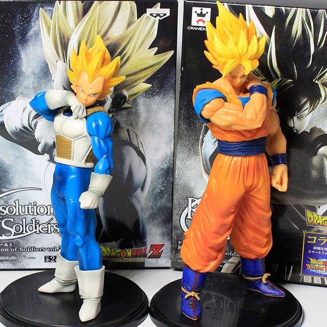 18/22 cm Brinquedos Modelo de Resolução De Soldado De Dragon Ball Z Super Saiyan Goku Vegeta Dragonball PVC Ação figuras Brinquedos